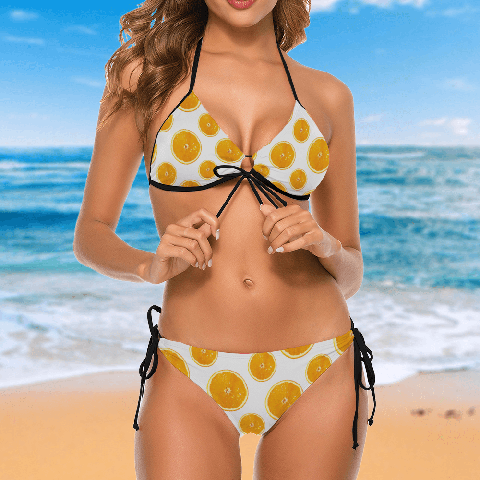 Valencia Beaches Woman Bikini With Oranges