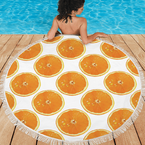 Valencia Round Beach Towel With Girl At Pool